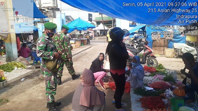 Personel Jajaran Kodim 0208/Asahan Keliling Pasar Dalam Memantau Berjalannya Protokol Kesehatan