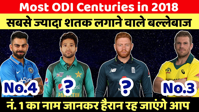 Most ODI Centuries in 2018 - virat ,finch, imam