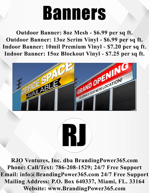 Large Format Printing - Outdoor Banners, Indoor Banners by: BrandingPower365.com; Call/Text: 786-208-1529