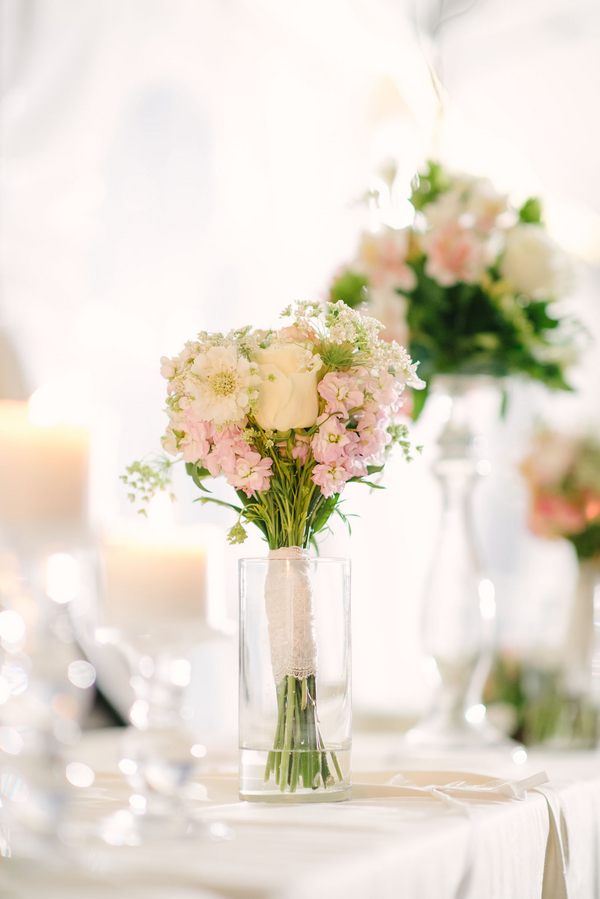 bridal+white+wedding+shabby+bride+chic+pink+gold+white+outdoor+summer+spring+wedding+floral+arrangements+tent+flowers+bouquet+lace+programs+menu+cake+table+bridesmaids+dresses+hair+peach+rose+reyna+wilton+photography+27 - Marshmallow Pink