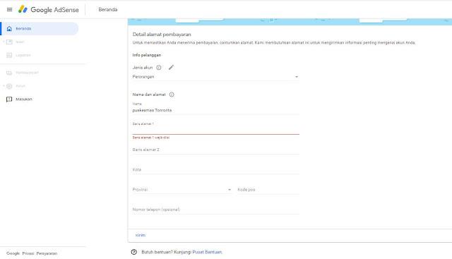 Informasi Detail Anda Google AdSense
