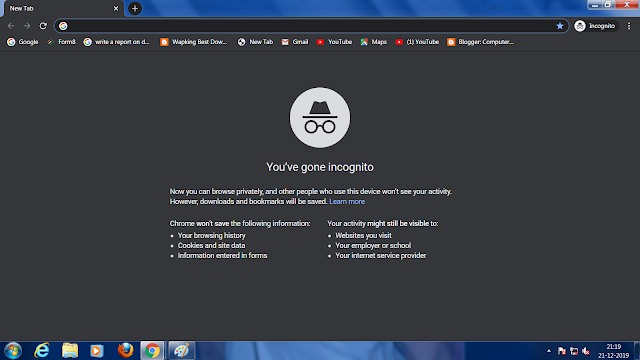 Private browsing with Google chrome