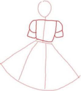 Langkah 3. Sketsa Cepat Gaun Rok Payung Pendek