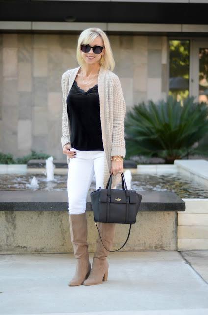 chenille cardigan, black lace trim velvet cami
