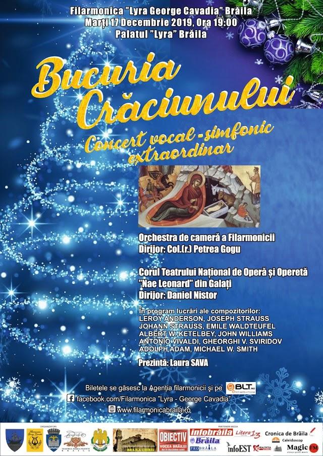 """Concert Extraordinar - Bucuria Crăciunului, organizat de Filarmonica """"Lyra - George Cavadia"""" Braila şi Palatul """"Lyra"""" Braila"""