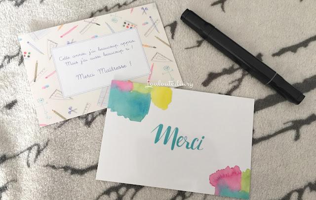 carte de remerciements (maîtresse) Popcarte