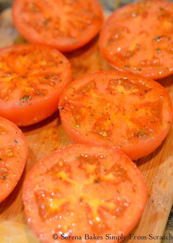 Season cut side of tomato with Italian Seasoning, Granulated Garlic and Smoked Paprika.
