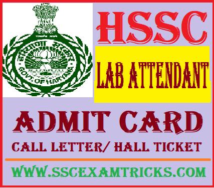 HSSC Laboratory Attendant Admit Card