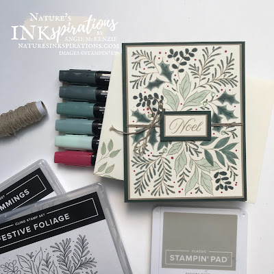 By Angie McKenzie for Casually Crafting Design Team Blog Hop; Click READ or VISIT to go to my blog for details! Featuring the Festive Foliage Cling Stamp Set and the Tidings & Trimmings Photopolymer Stamp Set by Stampin' Up!® to create a handmade card inspired by a tic tac toe challenge using stamps, ink and paper; #stampinup #cardtechniques #cardmaking #naturesinkspirations #diycards #handmadecards #festivefoliage #tidingsandtrimmings #coloringwithblends  #stampingtechniques #stampinupcolorcoordination #christmascardideas2021 #tictactoechallenge #casuallycraftingdesignteambloghop