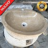Wastafel marmer tulungagung bulat kran asli batu alam diameter 40 cm