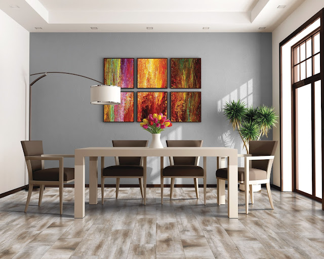 wood-like tile makes a stunning floor in this dining room