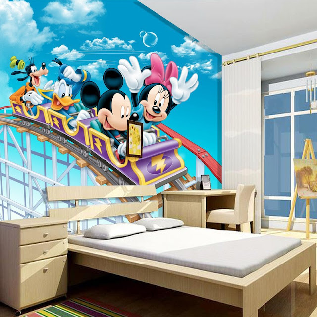 Minnie and mickey mouse wall mural 3d murals for kids children photo mural bedroom kids childrens Disney Roller Coaster