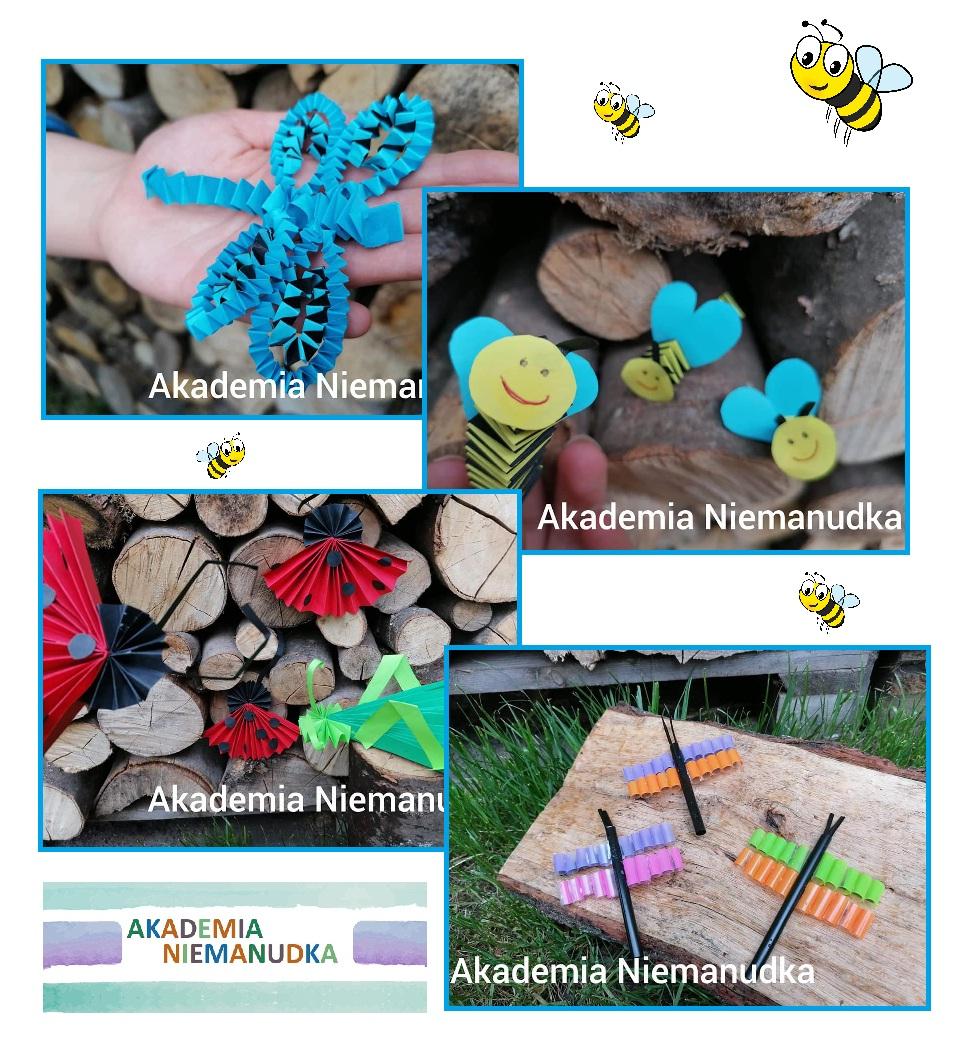 prace plastyczne, biedronka, pszczoła, ważka, konik polny, ważki z rurek, origami