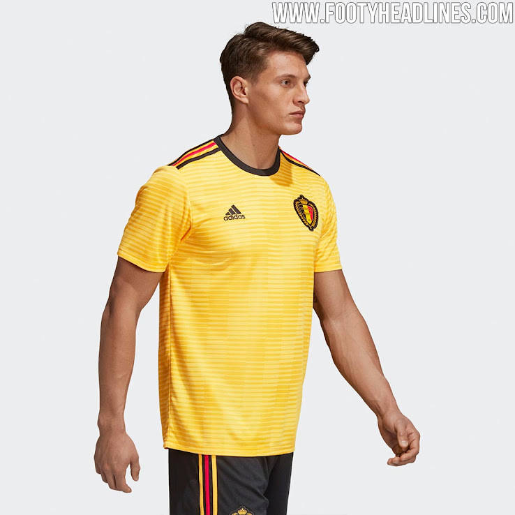 8500b47170f 2 of 3. 3 of 3. 1 of 3. Black shorts and yellow socks complete the Belgium  2018 away kit. The Belgium 2018 World Cup away shirt ...