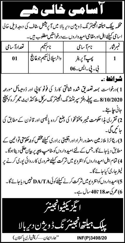 Public Health Engineering Division Latest Jobs Advertisement For Pump Operator Post in Upper Dir District KPK Pakistan.