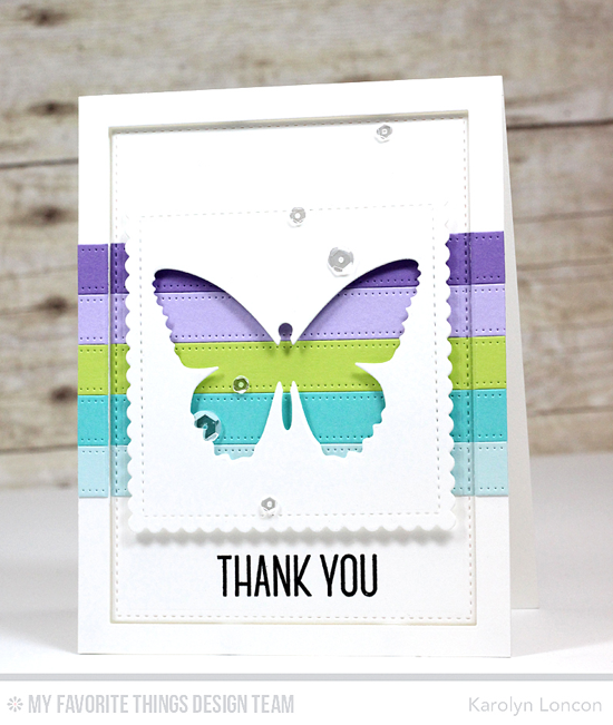Thank You Butterfly Card by Karolyn Loncon featuring the Lisa Johnson Designs Spring Wreath stamp set, and the Flutter of Butterflies - Solid, Stitched Mini Scallop Square STAX, Blueprints 3, and Blueprints 20 Die-namics #mftstamps