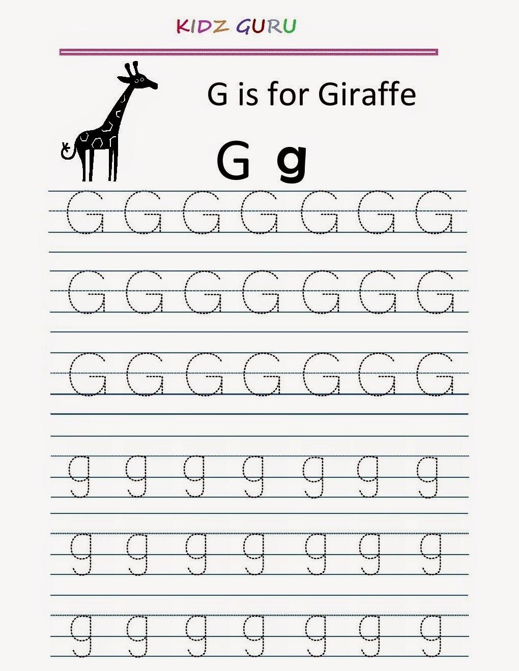 Workbooks letter g printable worksheets : Kindergarten Worksheets: Printable Tracing Worksheet - Alphabet G g