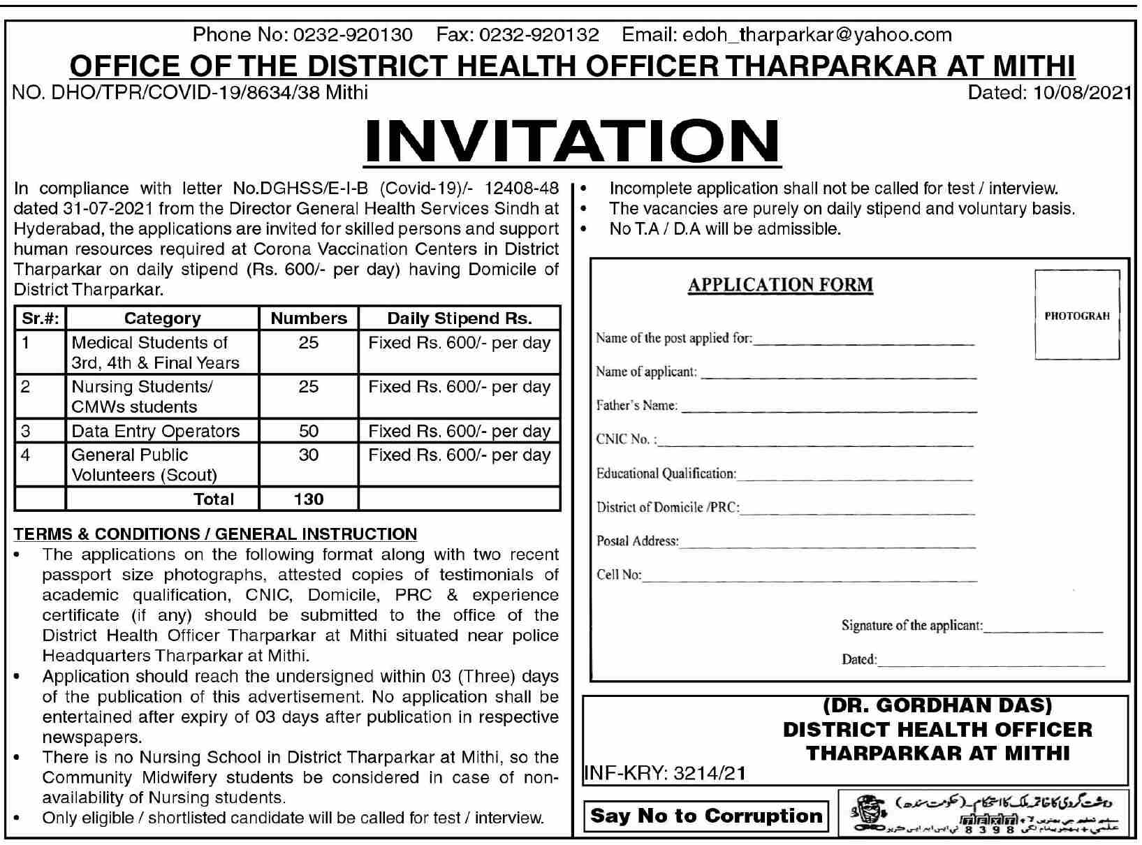 District Health Office, Government of Sindh Jobs 2021