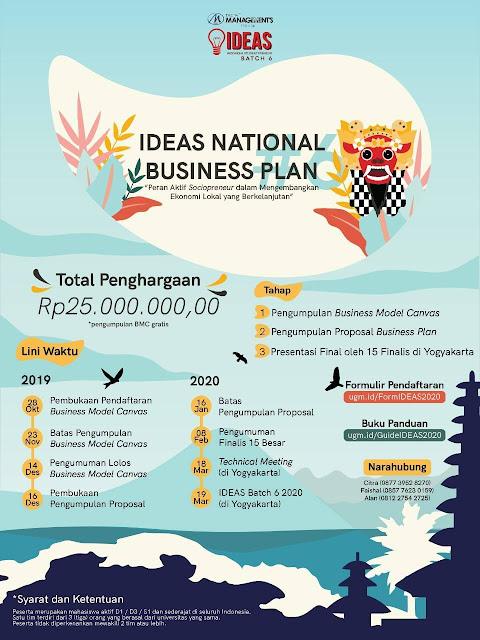 IDEAS – National Business Plan 2020 Total Hadiah 25 juta