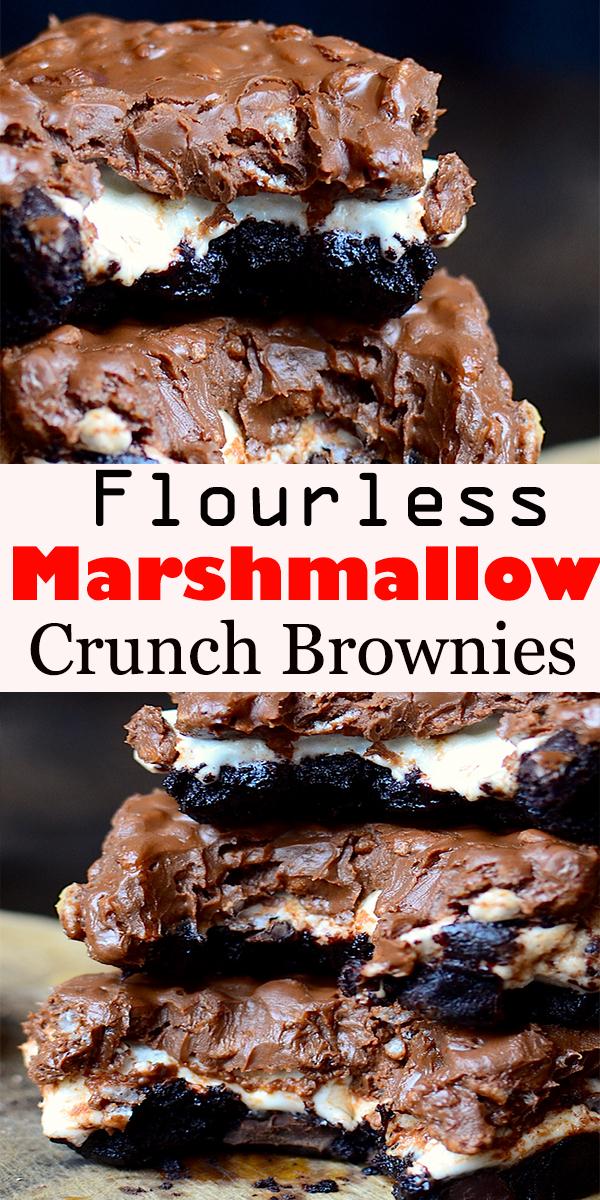 Flourless Marshmallow Crunch Brownies #Flourless #Marshmallow #Crunch #Brownies #FlourlessMarshmallowCrunchBrownies