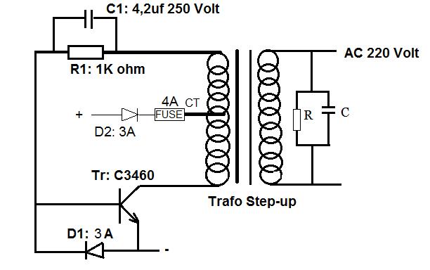 Untuk Meningkatkan Tegangan Keluaran Rangkaian Inverter Di Sebelah Kiri Trafo Masing Masing Komponen Dibuat Rangkap  Atau Lebih Sesuai Kebutuhan Tegangan