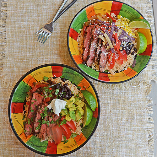 Steak Fajita bowls are ideal for that picky eater because you get to choose your own toppings.