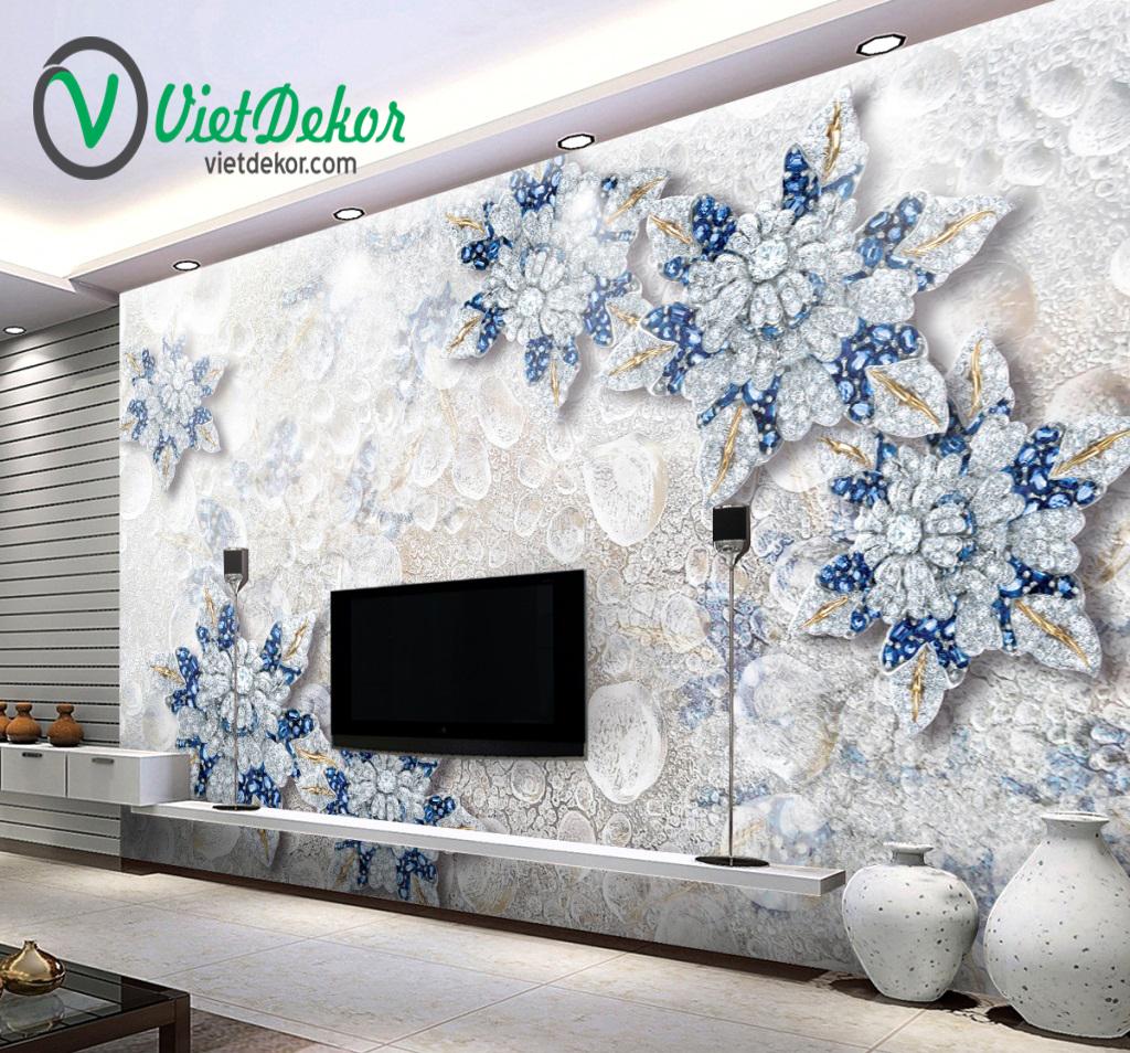 Tranh dán tường 3d hoa mẫu đơn trang sức ngọc trai