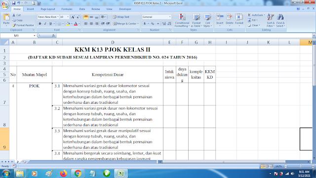 Download Contoh KKM K13 Kelas 2 SD Kurikulum 2013 Terbaru