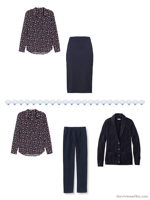 2 ways to wear a navy print blouse from a 4 by 4 Travel Wardrobe