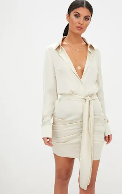 Champagne satin Ruched shirt party dress
