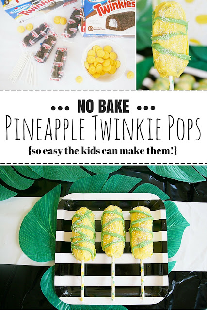No bake pineapple themed Twinkie cake pops. Fun for a pineapple themed party! The perfect treat to let kids get creative in the kitchen and help bake.