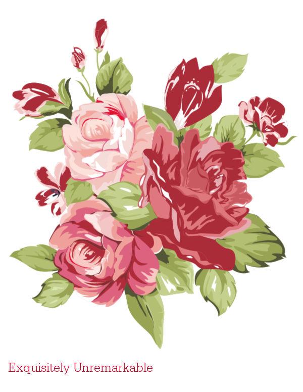 Floral Printable Red Roses