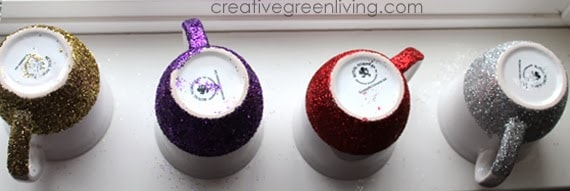 How to make dishwasher safe glitter mugs #creativegreenliving