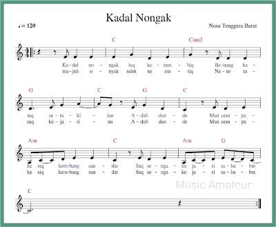 not balok lagu kadal nongak