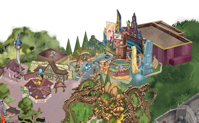 幻想工程師分享包含優獸大都會主題園區的藝術設計地圖, Jim-Shull-Shanghai-Disneyland-Art-Map-Zootopia-Land