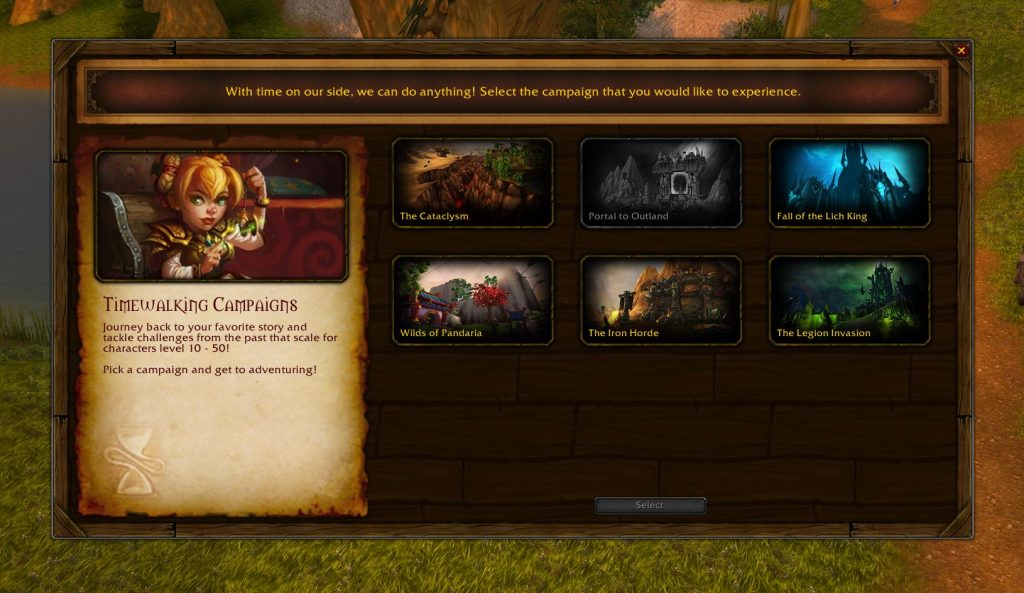 In the Chromie time you can choose your favorite extension. Your location is marked with a large hourglass on your map.