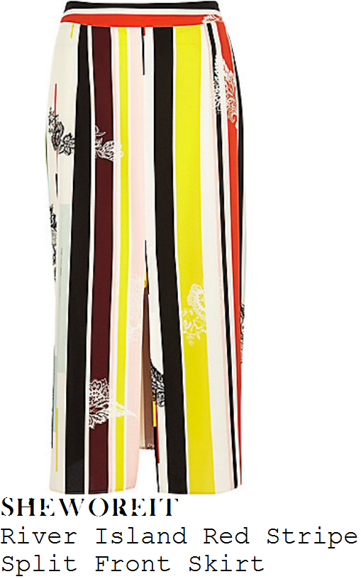 lauren-pope-bright-red-yellow-white-black-stripe-floral-print-high-waisted-split-front-pencil-midi-skirt-gok-and-fearne
