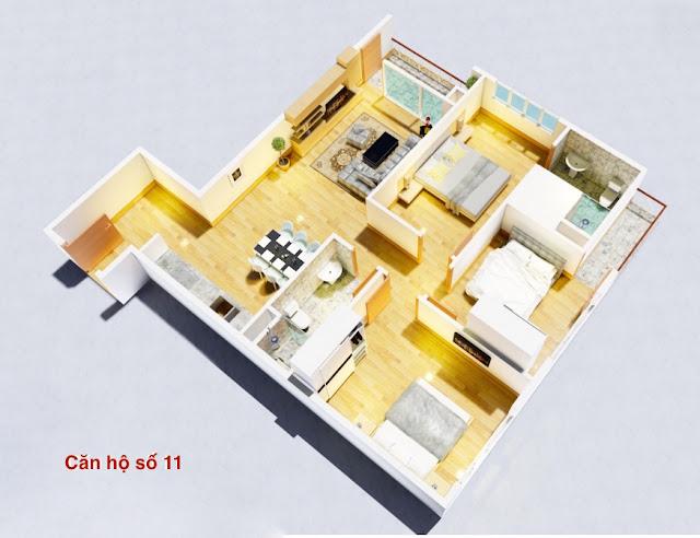 Thiết kế căn hộ số 11 chung cư tháp doanh nhân