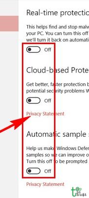 Tắt công cụ phần mềm tự động bảo vệ máy tính