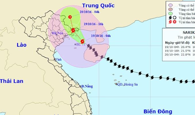 16h Chiều nay, bão Sarika đổ bộ vào Quảng Ninh