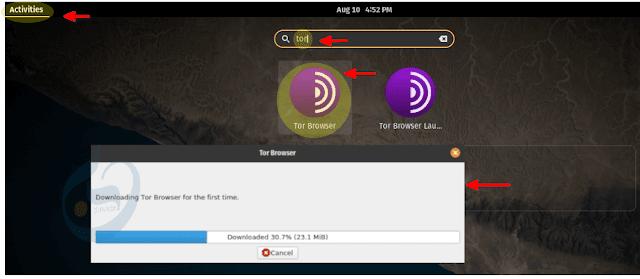 النقر على أيقونة متصفح Tor