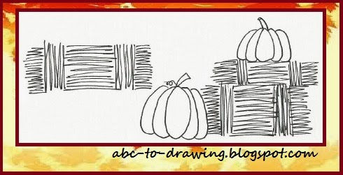 Abc To Drawing Pumpkins On Bale Of Hay