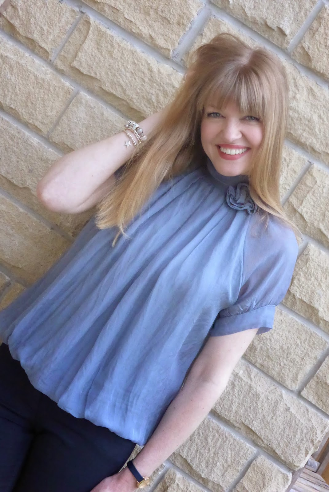 phase eight grey silk top with roses