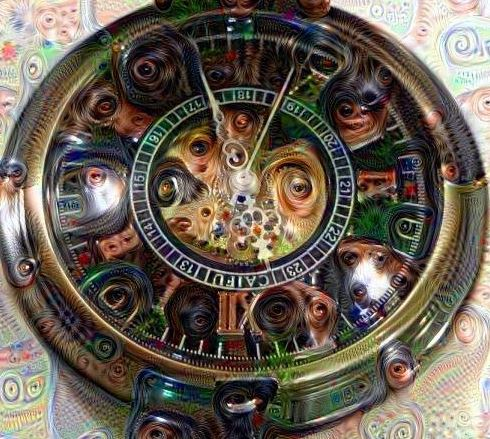 Disturbing closeup of the pocket watch dial