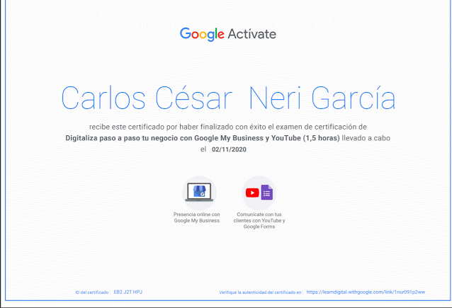 Certificado Google My Business y YouTube
