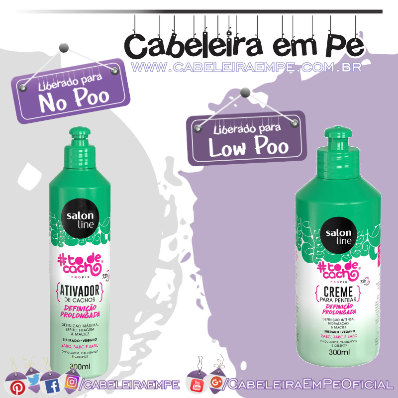 Creme para Pentear (Low Poo) e Ativador de Cachos #todecacho Definição Prolongada (No Poo) - Salon Line