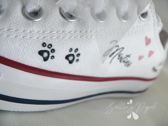 Detalle converse novia personalizadas pintadas a mano