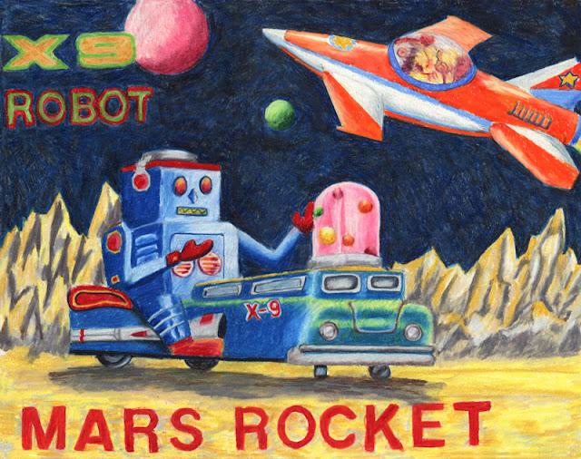 Vintage toy robot box