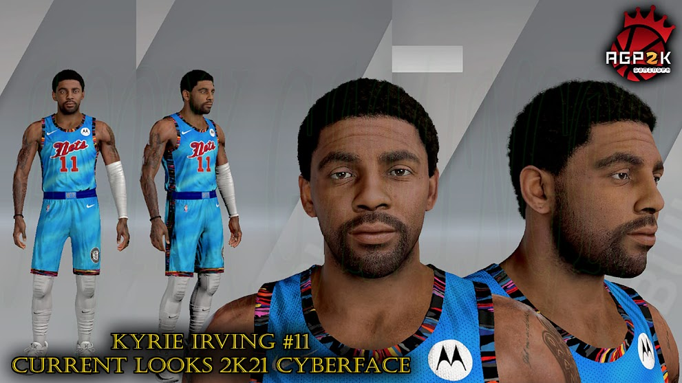 Kyrie Irving Cyberface Current Looks with Costumed Brooklyn Nets Jersey by AGP2K GAMING PH [FOR 2K21]