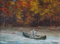 Automne en canot, huile 6 x 8 par Clémence St-Laurent - homme canotant le long de la rive